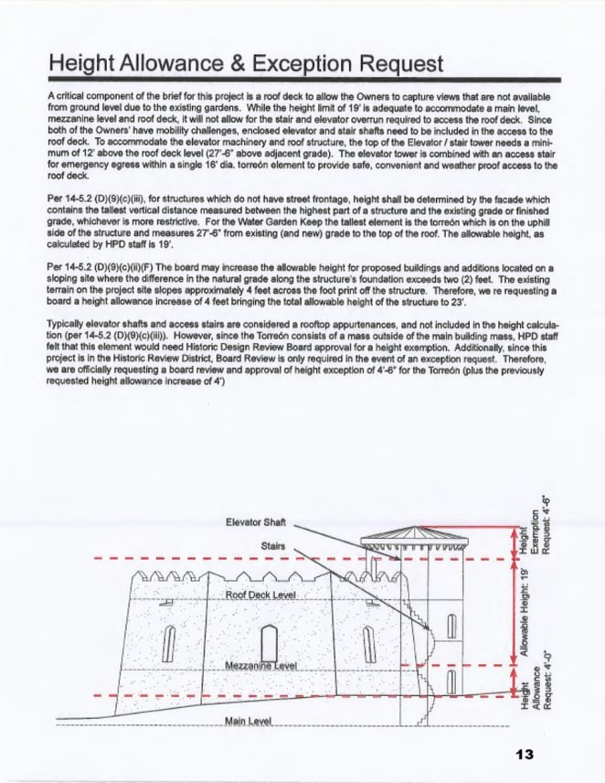 Its most contested element, the torreon (tower), reaches to a height of 27ft and 6in, which is 4ft more than regulations allow, despite the 4,234 sq ft keep being carved into the side of a hill to minimize its impact.While the initial proposal was rejected, Martin submitted fresh drawings in July, leveling off the battlements, swapping the tower's stone finish for tan or brown stucco and lowering it to 24 ft