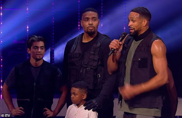 Routine: Britain's Got Talent's Ofcom complaints have soared to 7,581 after dance troupe Diversity performed a routine inspired by the Black Lives Matter movement on Saturday night (Jordan pictured centre with brother Ashley, right)