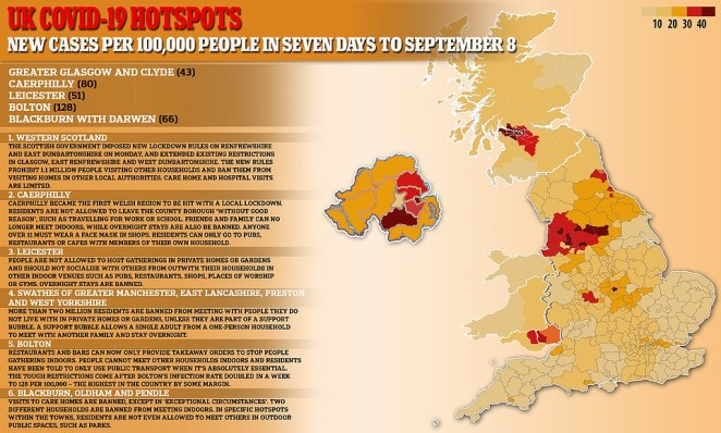 Where are the lockdowns in the UK and how many cases are there per 100,000 people?