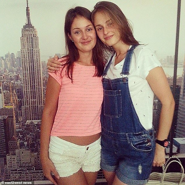 Shuliak, from Belarus, was known as 'the inspector' for her obsessive snooping on Epstein during their relationship that lasted up to a decade. Pictured: Shuliak (right) with a friend in August of 2014