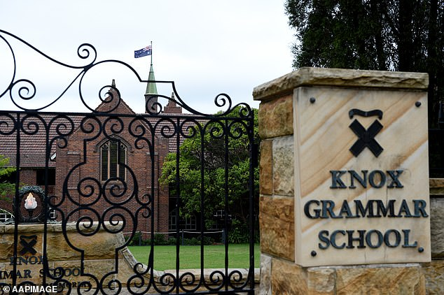 NSW District Court heard Warby was drinking alcohol excessively while he was working at Knox Grammar School (pictured)