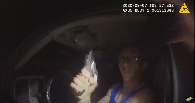Potter is then seen flashing a gun. The sheriff's deputy is knocked backward and the video footage is cut off
