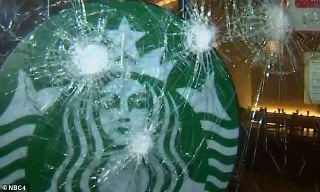 Six other businesses below West 22nd Street also had their windows smashed including several banks and Duane Reade. The smashed up Starbucks window