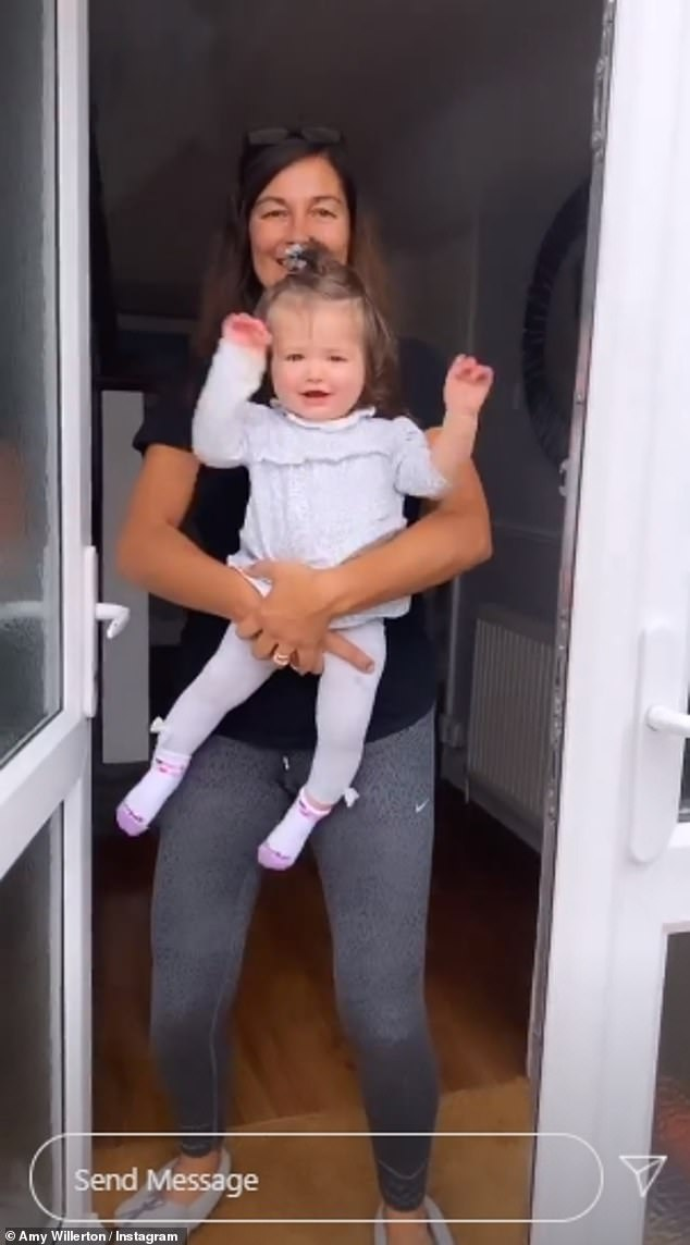 Off duty: Last week, she shared a video of their adventure with the two dropping baby Demelza off with her grandmother before taking their road trip