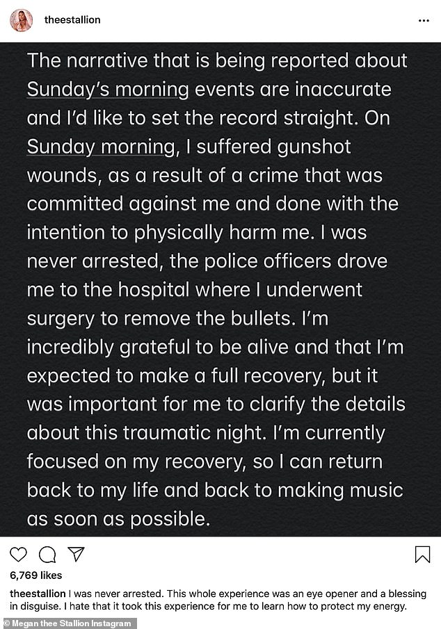 Setting the record straight: The 25-year-old rapper took to her Instagram account in July a gew days after the incident to tell her side of the story and claimed that she was deliberately shot