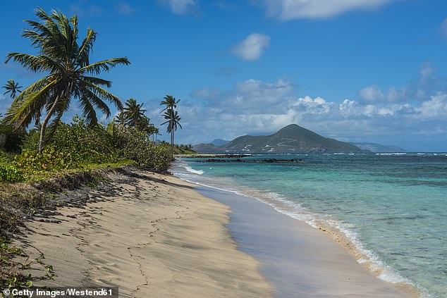 Rich Americans are fleeing to the Caribbean as they swap COVID-19, fears around the upcoming election and even their US citizenship for a winter working remotely in the sun. Pictured a beach on Nevis