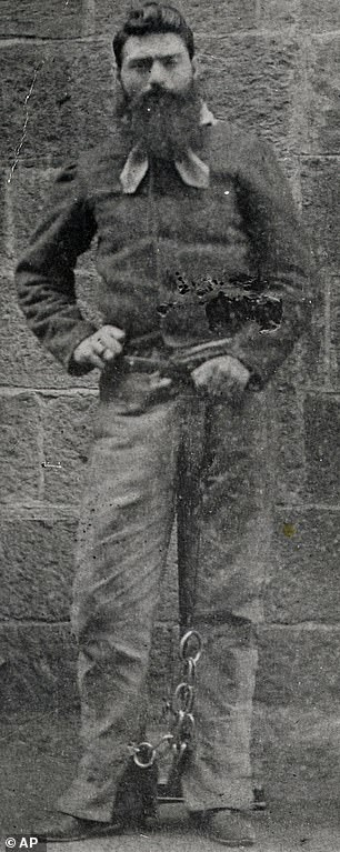 Ned Kelly is pictured shortly before he was hanged at Melbourne Gaol on November 11, 1880