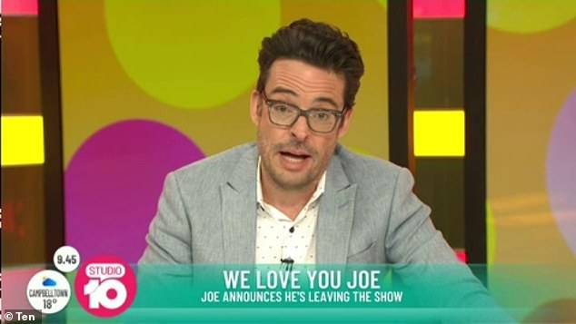 'My time here has been wonderful': Joe Hildebrand announced he was leaving the network live on Studio 10 on Thursday