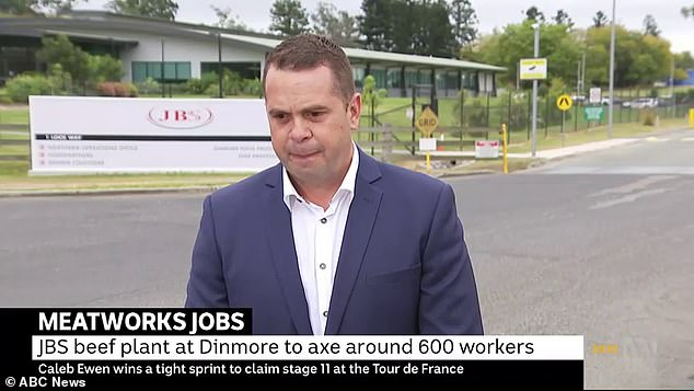 Rennie was reporting live from JBS Dinmore in Ipswich, Queensland, on Thursday morning when the incident occurred (pictured)