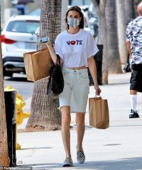 Whitney Port rocks a T-shirt encouraging people to 'Vote' while on a shopping trip in Los Angeles