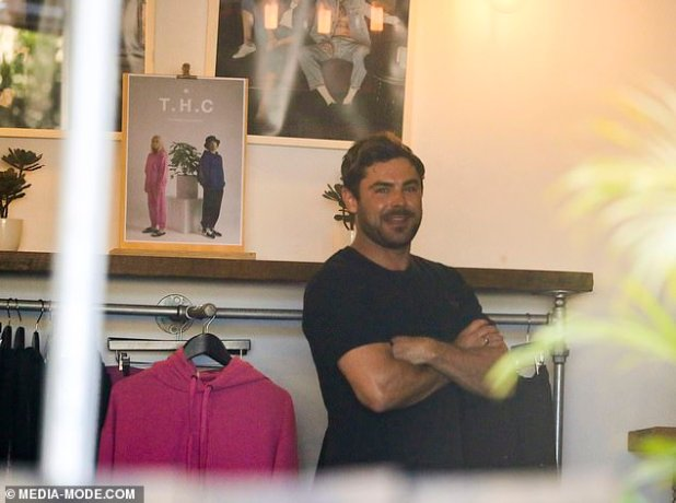 Happy: Baywatch Star stocks items from local clothing brand Offense at its headquarters store and cafe