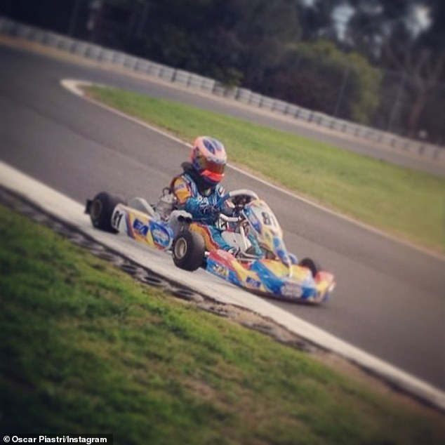Piastri began kart racing as a 10-year-old in 2011 (pictured kart racing in his early teen years)