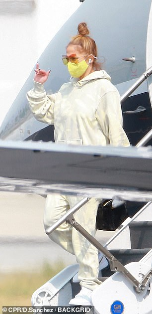 Touch down: Later in the day, Jennifer was spotted touching down in her private jet in Los Angeles,