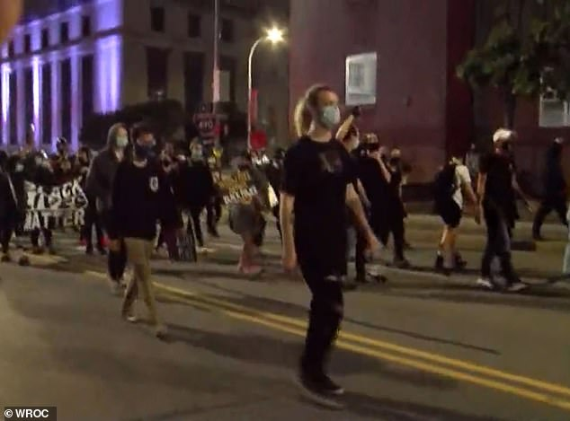 Around 200 people took to the streets of Rochester on Wednesday night, police said