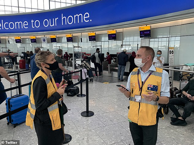 A consular assistance team (pictured) has been deployed to Heathrow airport in London on Monday to help stranded Australian travelers
