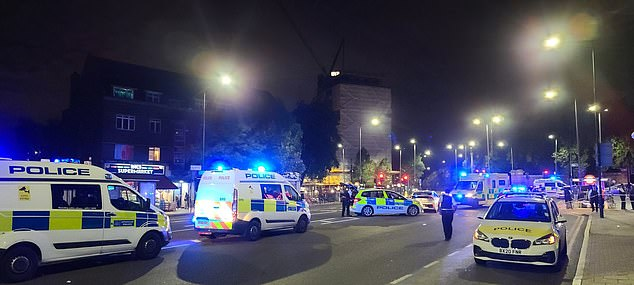 A police officer 'screamed for help' after he was hit by a car during a stabbing in north London last night, it has been claimed. The officer was responding to reports of a stabbing outside Manor House station in Finsbury Park when he was reportedly hit