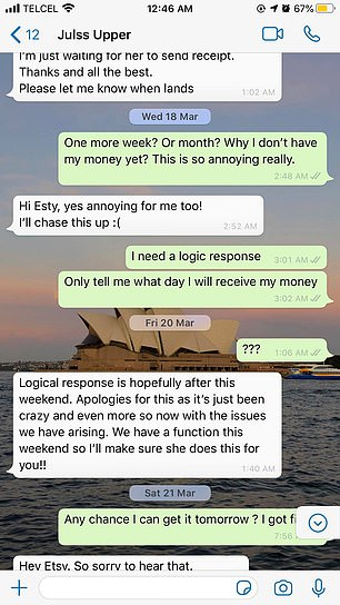 Text exchanges between Ms Gelonese and a former employee show complaints about not being paid began in February and stretched on for months