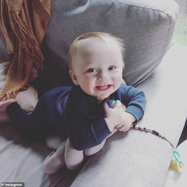 Spencer (pictured) got out of a pram in front of his parents home on Wednesday night and crawled onto a slip lane off the Calder Highway in Kangaroo Flat, a south-western suburb of Bendigo