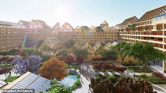 The complex in the province of Hebei is set to consist of wooden apartment blocks, rooftop farms and renewable energy, according to designers at Barcelona-based Guallart Architects