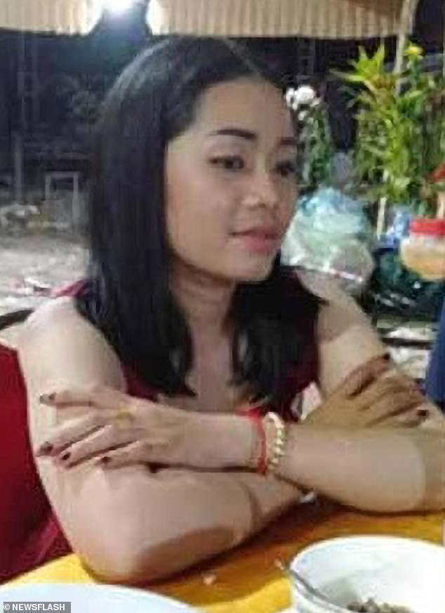 According to a National Police report, Pha attacked his lover, Ms Chenda (pictured), because she wanted to split up with him