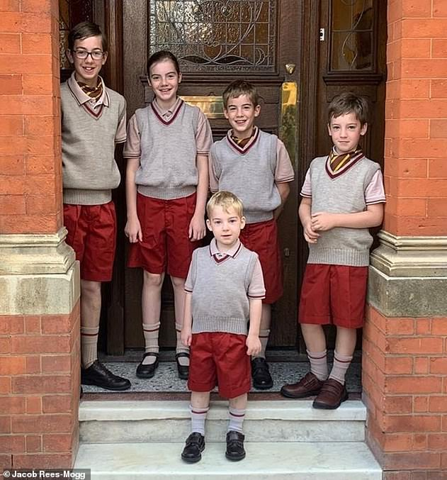 Jacob Rees-Mogg's children, in descending order, are Peter, 12, Mary, 11, Thomas, ten, Anselm, eight, and Alfred, out in front, four. The youngest is Sixtus, three