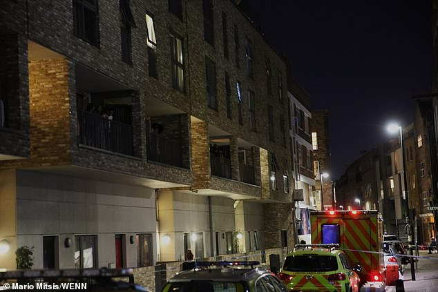 The woman is said to have fallen from a block of flats, above, in east London. Police rushed to the scene after being called by London Ambulance Service
