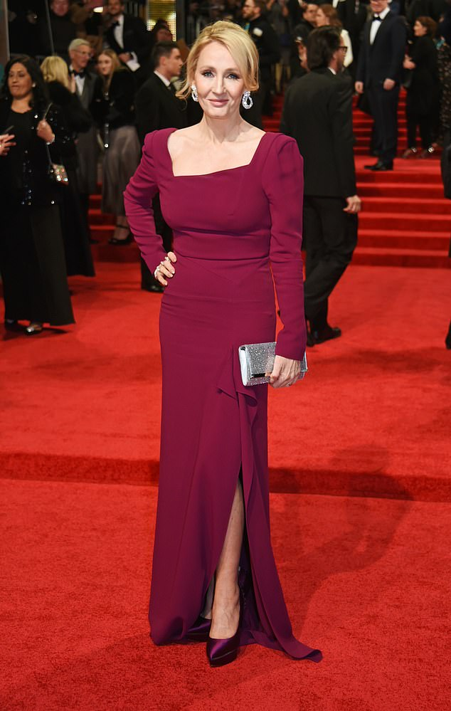 JK Rowling shared her controversial opinions on Twitter in June and tweeted about the use of the phrase 'people who menstruate' instead of women. Pictured, attending the 70th EE British Academy Film Awards (BAFTA) at Royal Albert Hall on February 12, 2017 in London