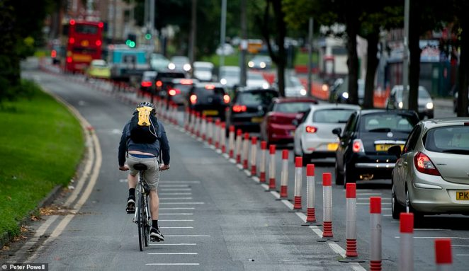 Pop-up cycle lanes set up as part £33 million plan to get London moving again are lying empty while traffic is squeezing onto narrowed streets, bringing the capital to a halt, it can be revealed. Pictured: A pop up cycle lane on West Derby Road, Liverpool