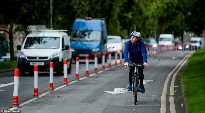 Similar schemes are being undertaken across the country, including in Liverpool where there is a pop-up cycle lane on West Derby Road