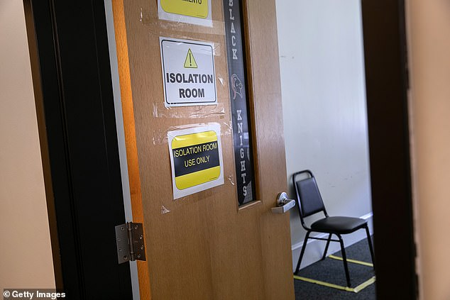 An improvised 'isolation room' stands at the ready for students with potential COVID-19 symptoms on the first day of school at Stamford High School on September 8