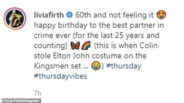 Livia Giuggioli took to Instagram to share the playful snap of Colin in a Madi Gras carnival costume alongside the words '60th and not feeling it!'