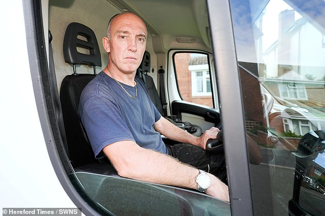 The window engineer, who had not had a heart attack, said his blood pressure went 'through the roof' after being given a parking fine - despite the ambulance being parked next to his car