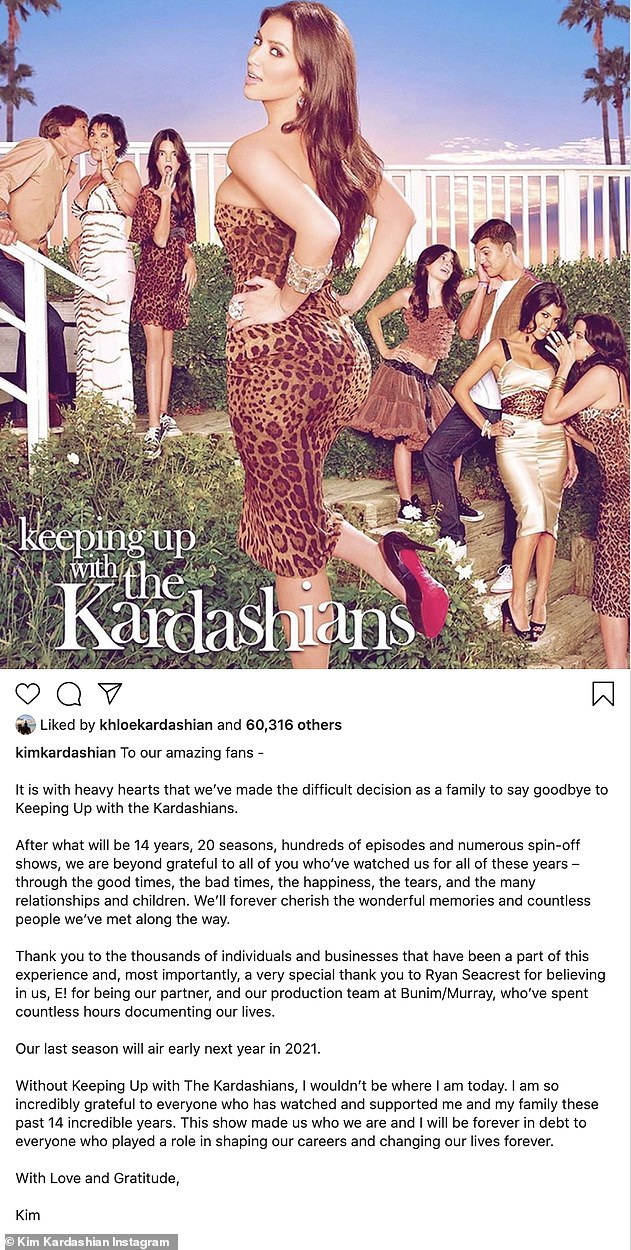 Shock announcement: Kim Kardashian revealed her family has made the 'difficult decision' to end Keeping Up With The Kardashians