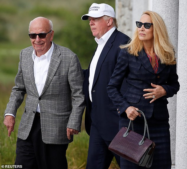 Donald Trump with Rupert Murdoch and Murdoch's wife Jerry Hall in Scotland in June 2016, after Murdoch changed his position to support Trump's candidacy. Sources say relations between the two have now soured and Murdoch believes he will lose in November