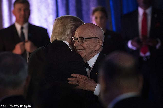 Trump and Murdoch hug in May 2017, several months into his presidency, by which point Fox had gotten firmly behind him