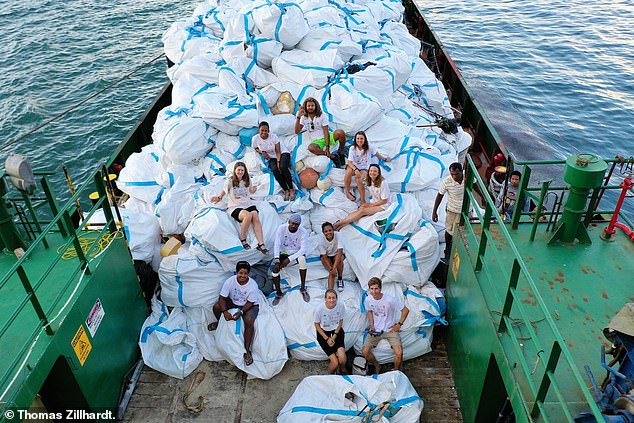 Tonnes of plastic waste has already been removed but this is just 5 per cent of the total. The team calculated the total cost of clearing all litter from the entire 150 square mile atoll would be £3.6 million and require 18,000 hours of labour