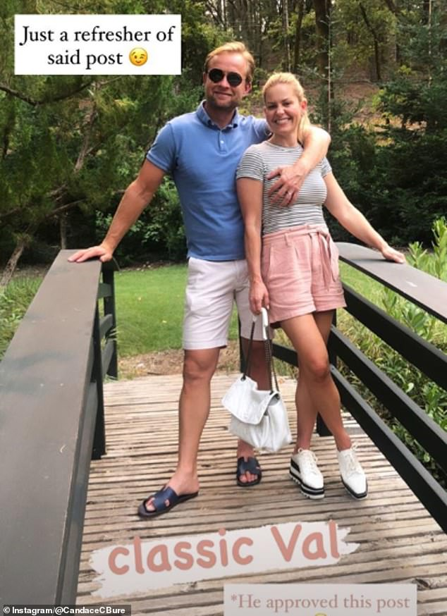 Hitting back: Candace Cameron Bure, 44, has defended her photo of her husband Vale Bure, 46, touching her breast after her some of her 'Christian' followers deemed it 'inappropriate'