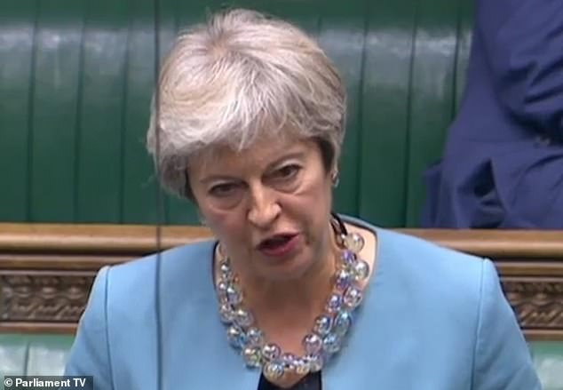 Theresa May yesterday led a Tory backlash over the failure to introduce virus tests at airports. She is pictured above speaking in Parliament
