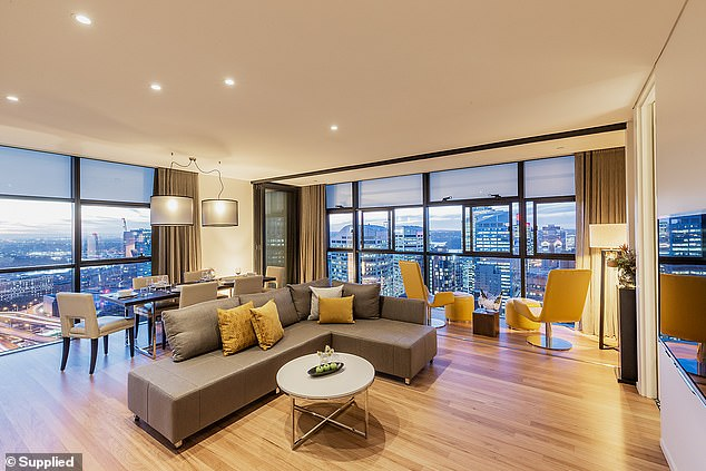 Each suite comes with a lounge and dining area (pictured), a fully equipped kitchen with a washing machine and dryer, as well as a study area