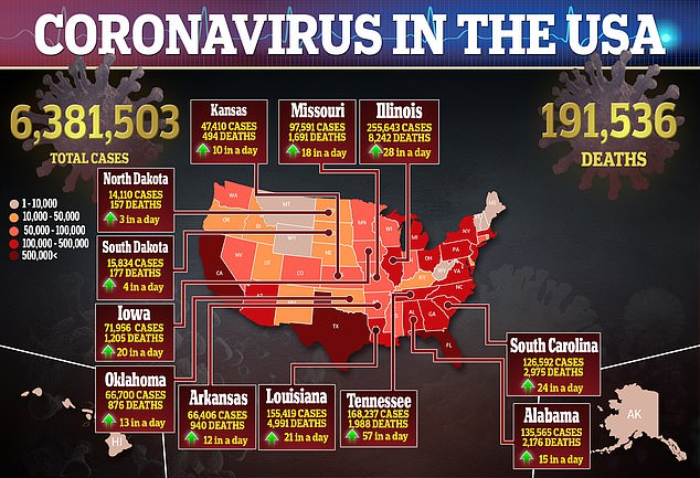 More than 6.3 million cases of the virus have been reported in the US. There have been at least 191,536 deaths