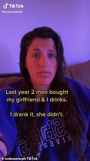 Scary: Stephanie Tavares, 26, from Montreal, Canada, shared a video of herself passing out on the ground just five minutes after her drink was spiked