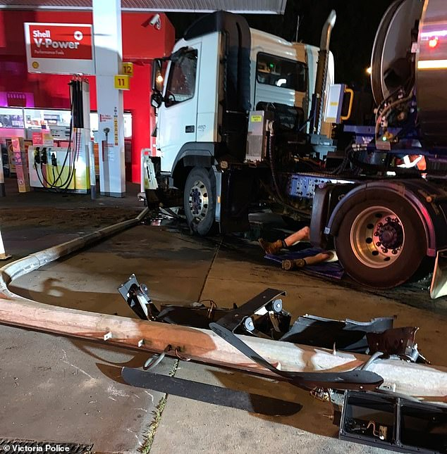 The milk tanker came to a stop metres away from hitting the petrol station shopfront