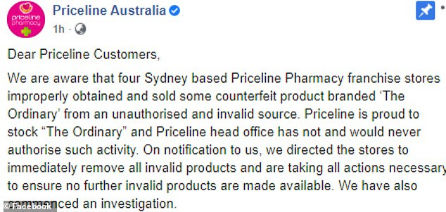 Priceline Pharmacy was forced to issue this apology and warning to customers on Friday