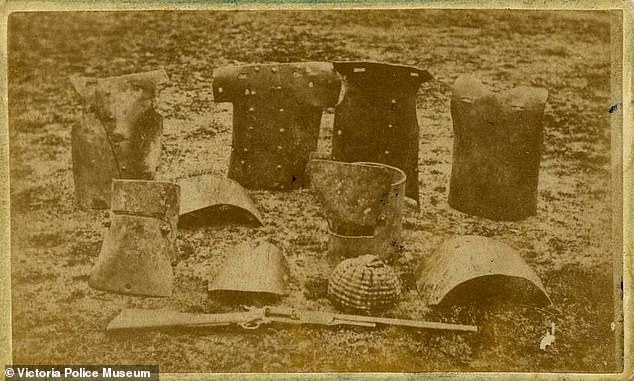 The Kelly Gang's armour protected the bushrangers' heads and torsos but not their lower arms and legs. Two suits of armour are pictured after the seige at Glenrowan in June 1880