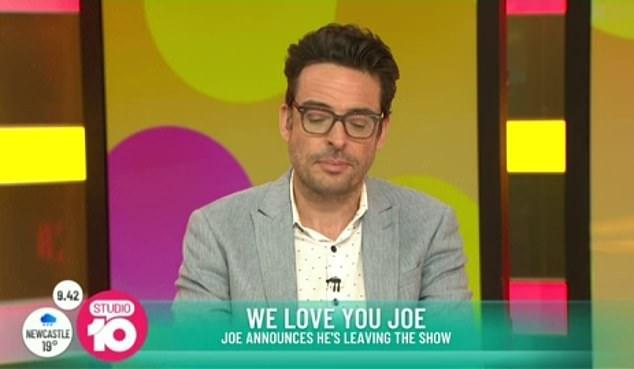 Leaving: Joe Hildebrand (pictured) announced he was leaving the network live on Studio 10 on Thursday