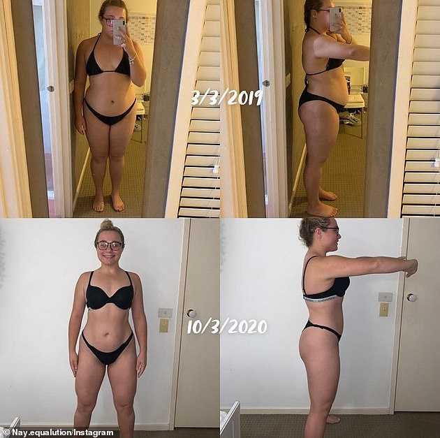 It took her over a year to shed 35 kilos altogether - and lose a total of 81.9 cm all over her body