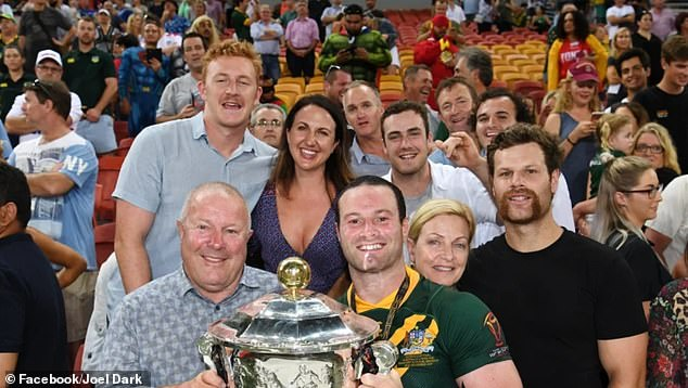 Joel (back left) is the cousin of Boyd Cordner (front row), the Kangaroos, Sydney Roosters and NSW captain. Above, they celebrate Cordner's Kangaroos' 2017 World Cup victory, where he scored the winning try