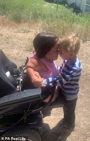 Trisha has always been resolute that OI – also known as brittle bone disease – would not set her apart from her peers and refuses to be treated as disabled. She is pictured now with son Maven