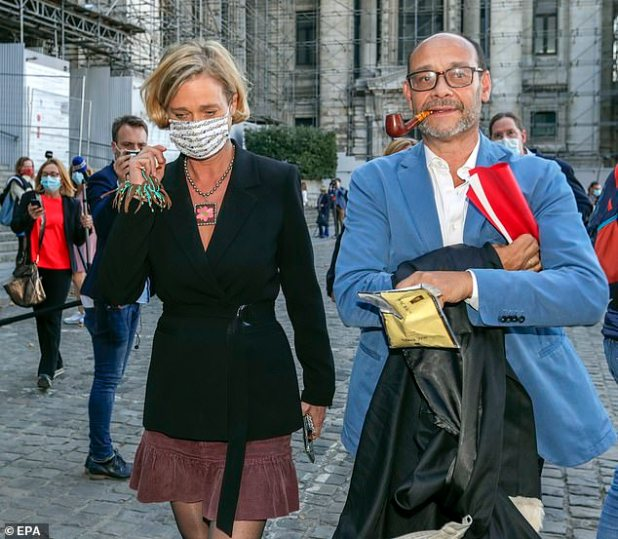 Delphine Boel and her solicitor Mark Uetendale out of court after the latest hearing