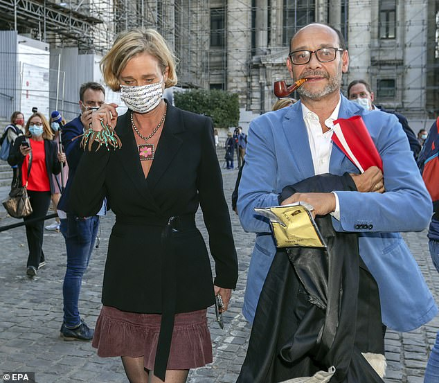 Delphine Boël and her solicitorMarc Uyttendaele outside court following the latest hearing